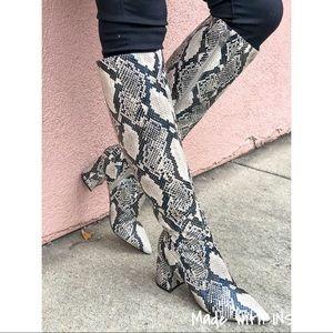 Marc Fisher Retie Snakeskin Knee High Boots